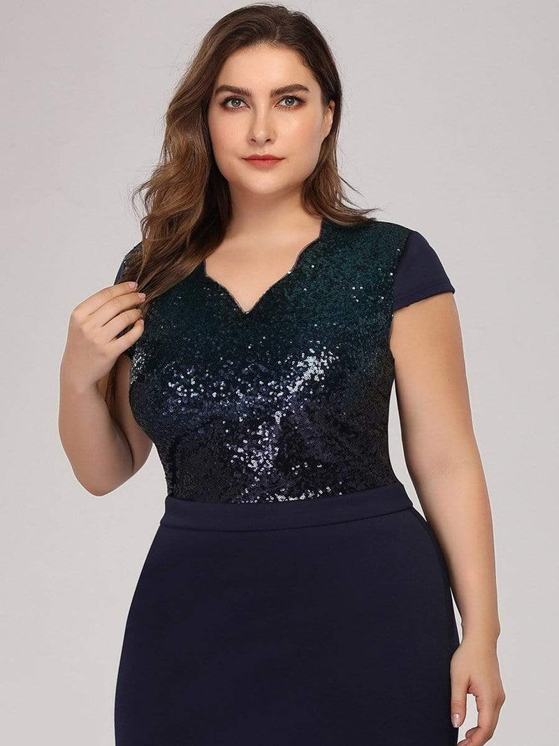 Women'S V-Neck Sequin Dress Evening Party Mermaid Dress-Navy Blue 5