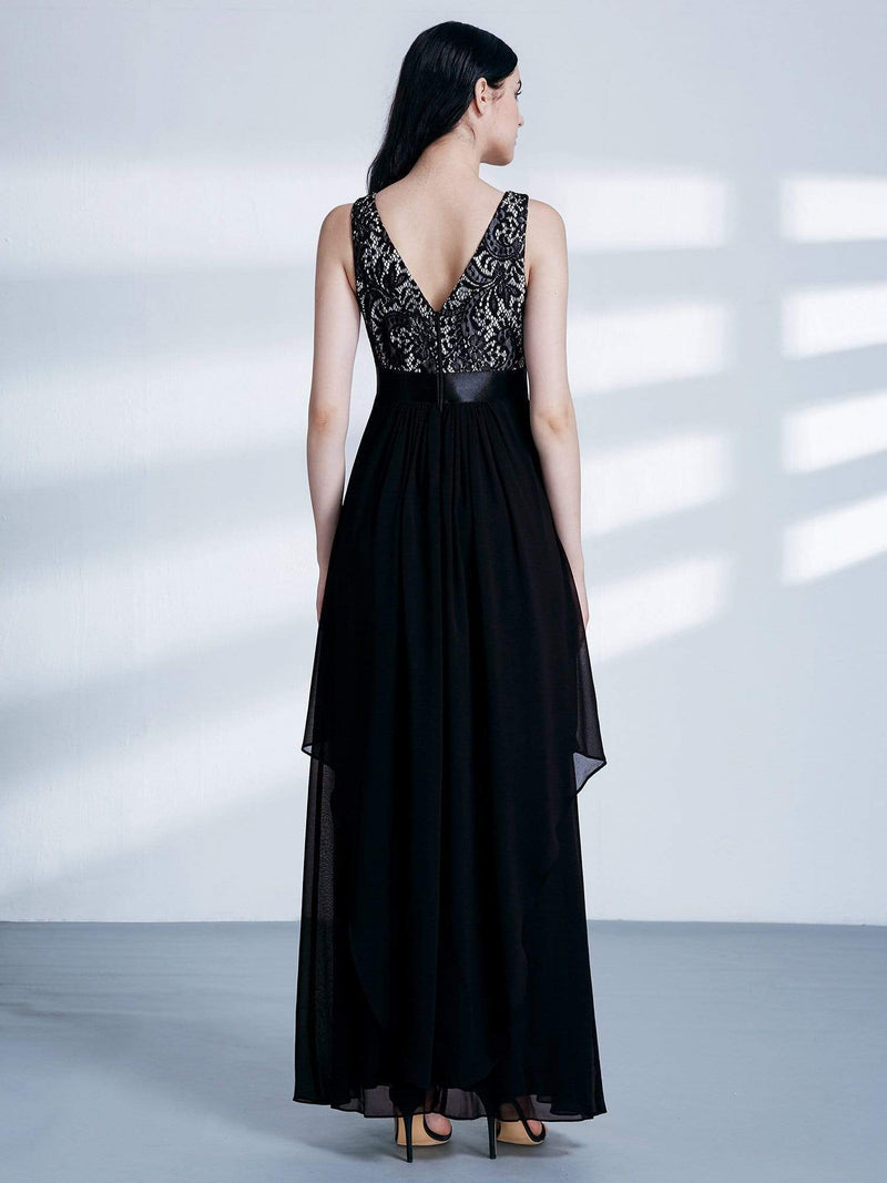 Sleeveless Long Evening Dress With Lace Bodice-Black 2
