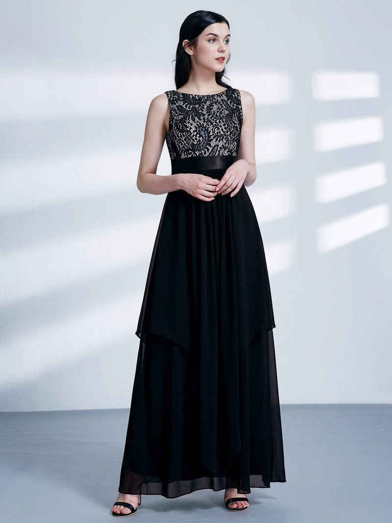 Sleeveless Long Evening Dress With Lace Bodice-Black 3