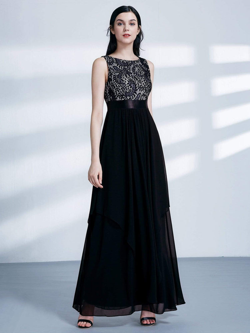 Sleeveless Long Evening Dress With Lace Bodice-Black 4