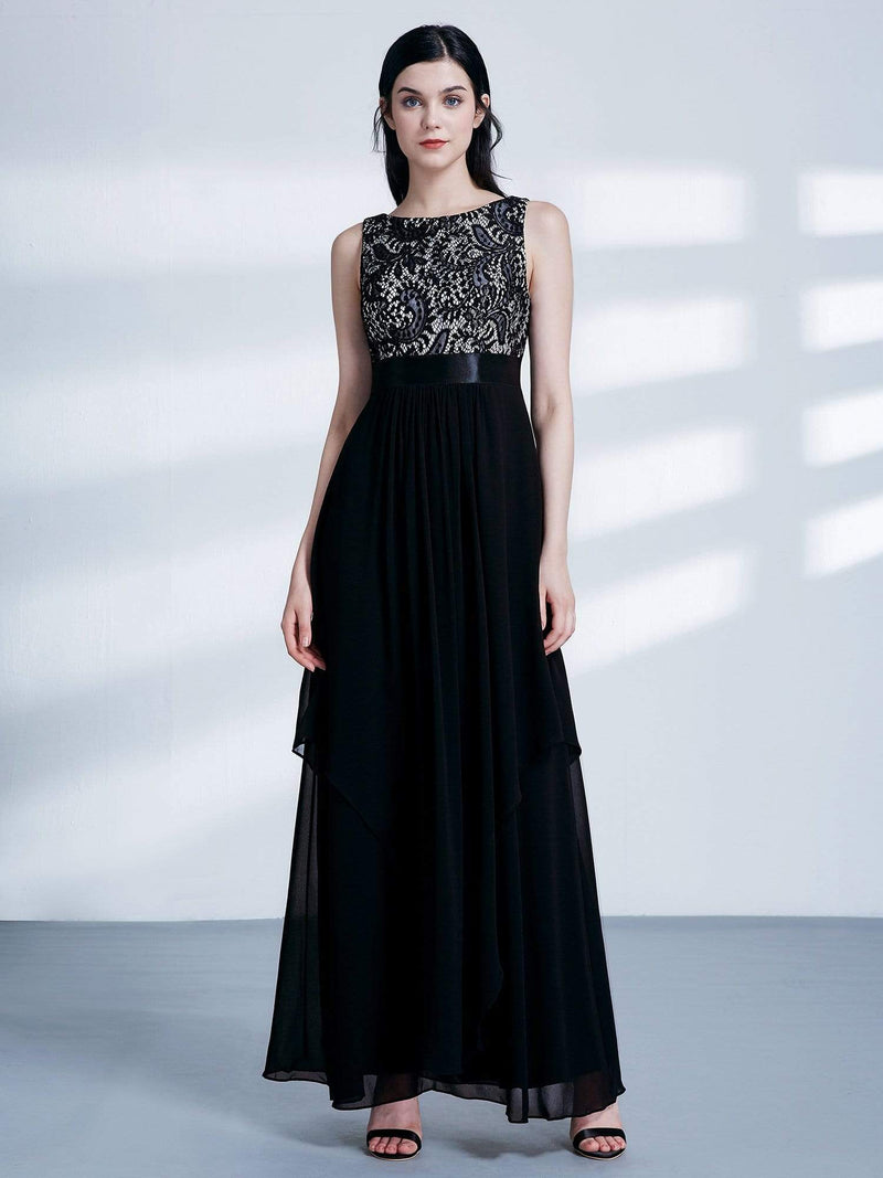 Sleeveless Long Evening Dress With Lace Bodice-Black 1