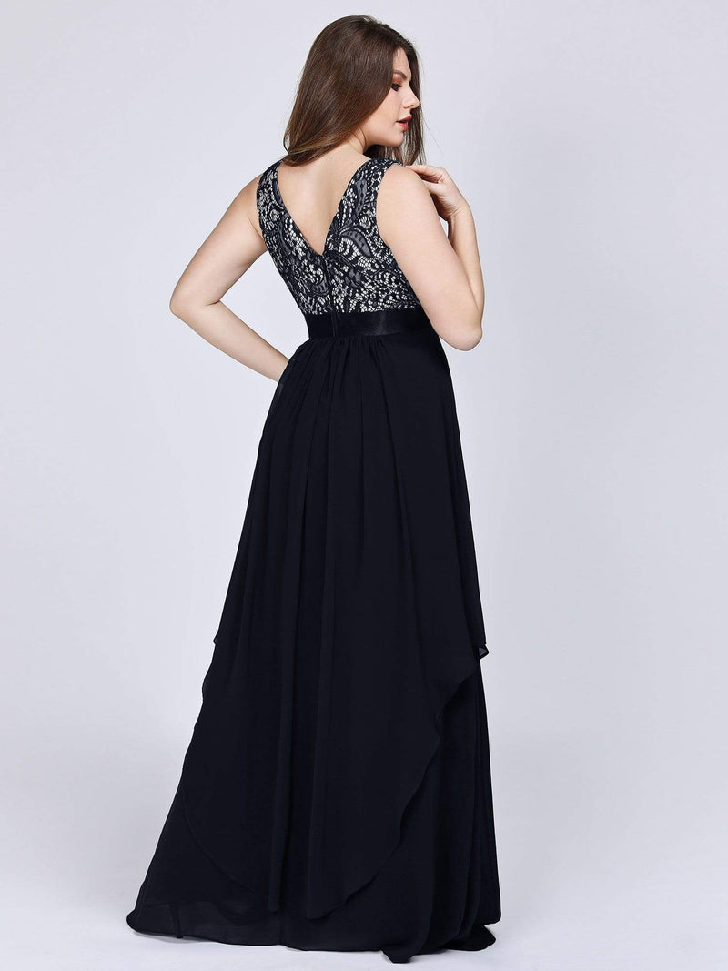 Sleeveless Long Evening Dress With Lace Bodice-Black 7