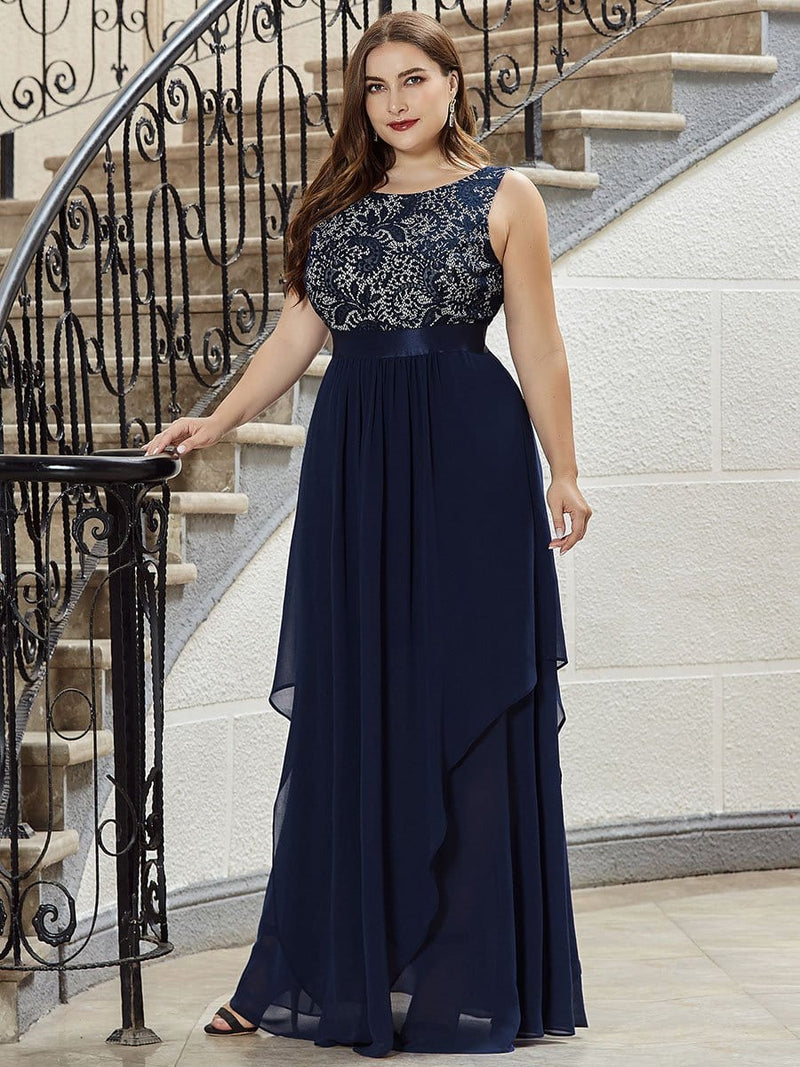Plus Size Sleeveless Long Evening Dress With Lace Bodice-Navy Blue 3