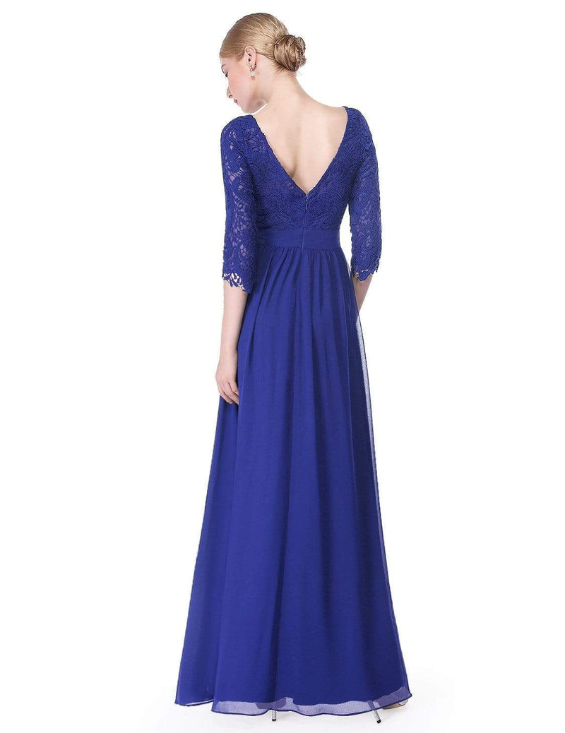 Lace Long Sleeve Floor Length Dress-Sapphire Blue 2