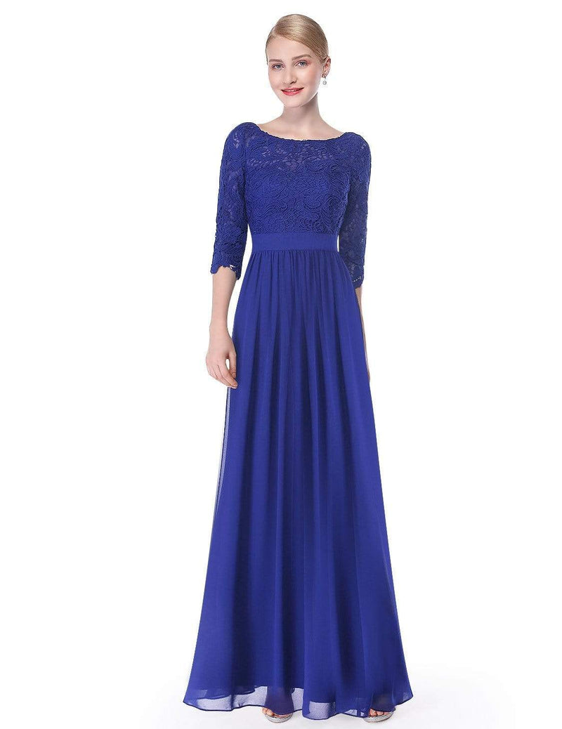 Lace Long Sleeve Floor Length Dress-Sapphire Blue 3