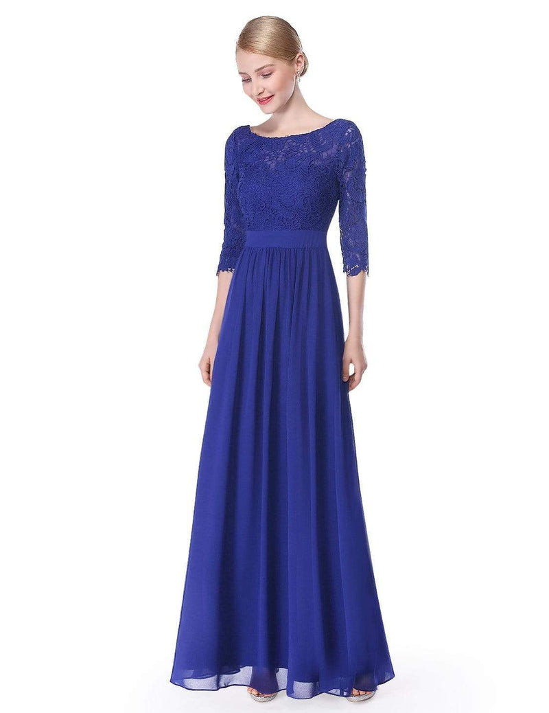 Lace Long Sleeve Floor Length Dress-Sapphire Blue 4