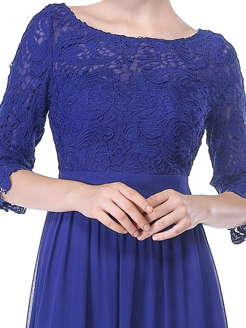 Lace Long Sleeve Floor Length Dress-Sapphire Blue 5