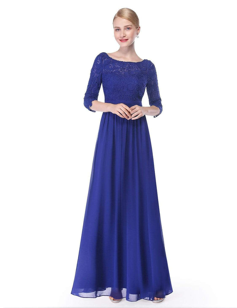 Lace Long Sleeve Floor Length Dress-Sapphire Blue 1