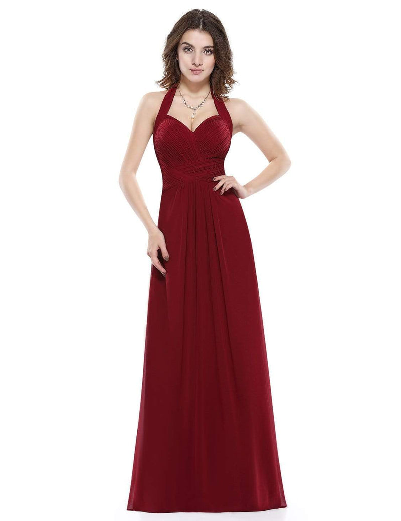 Halter Neck Evening Dress With Sweetheart Neckline-Burgundy 2