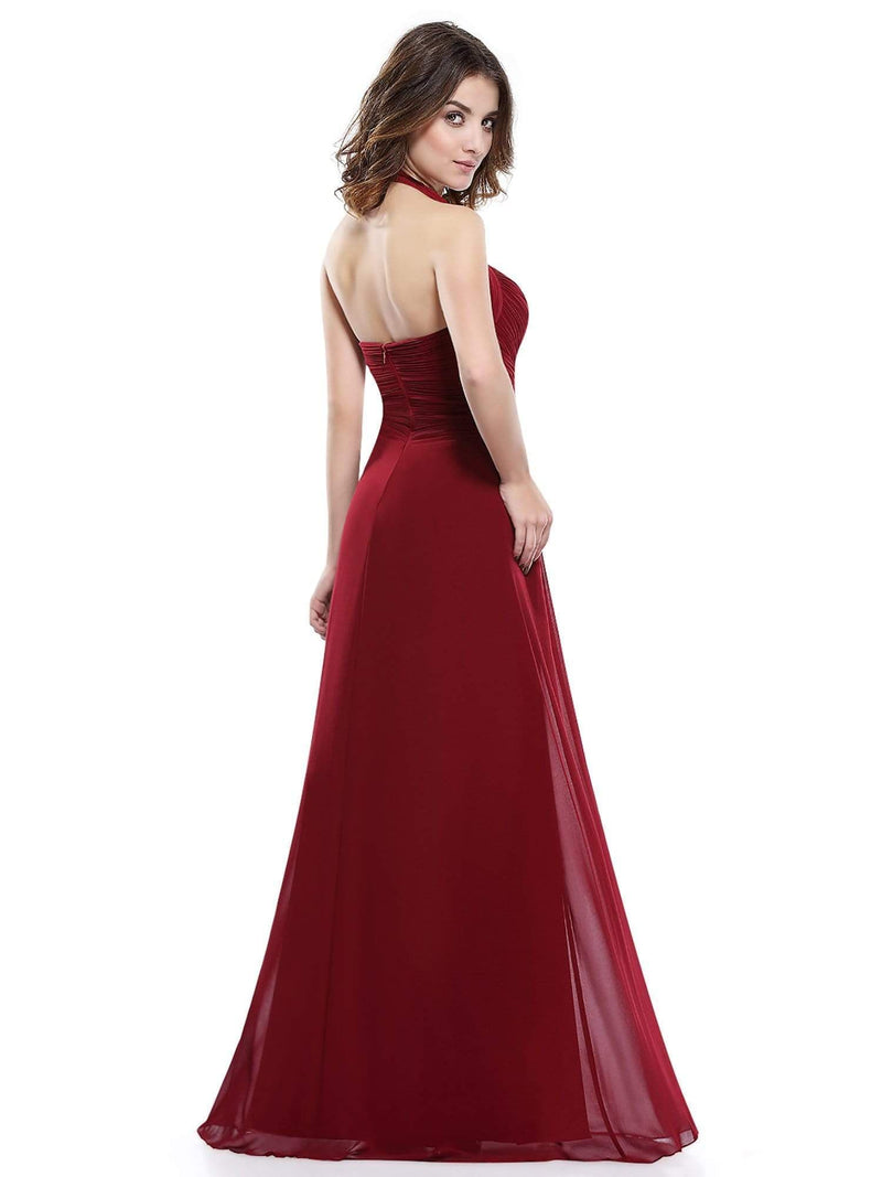 Halter Neck Evening Dress With Sweetheart Neckline-Burgundy 3