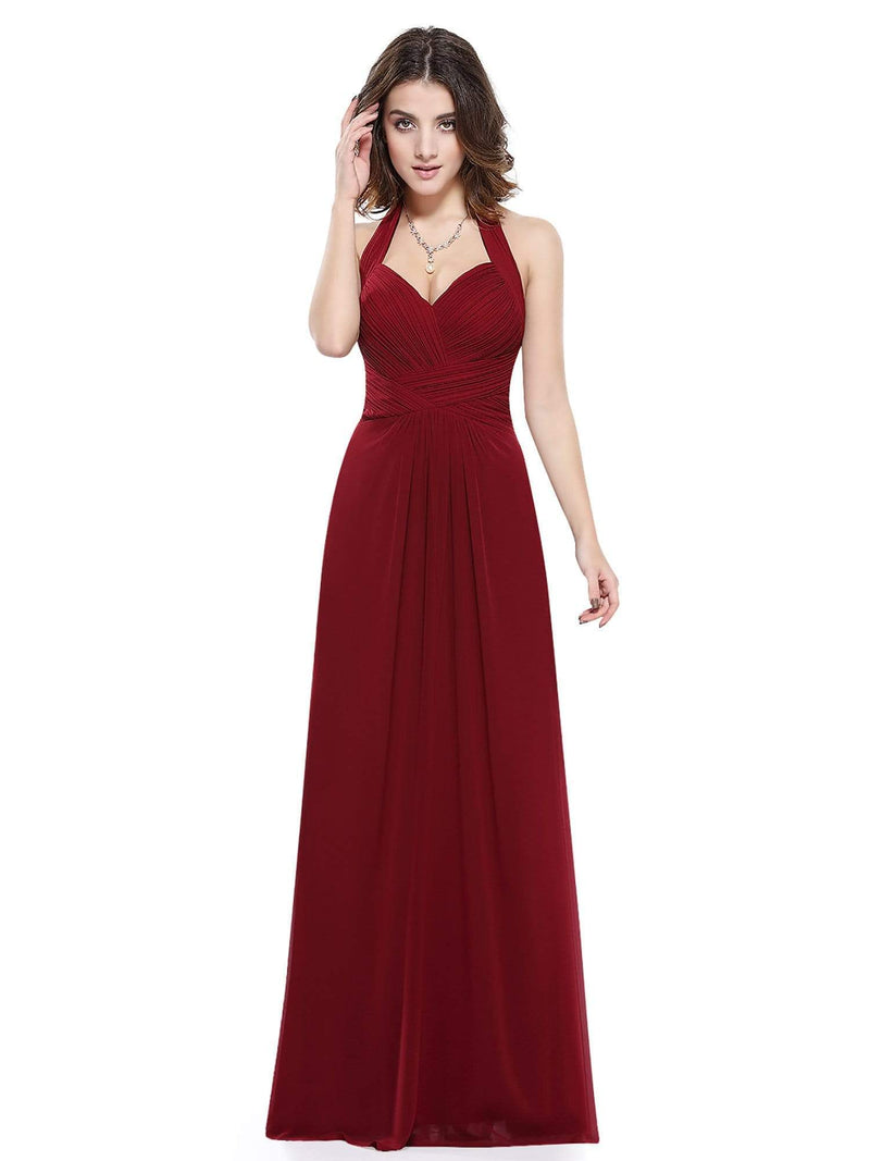 Halter Neck Evening Dress With Sweetheart Neckline-Burgundy 4