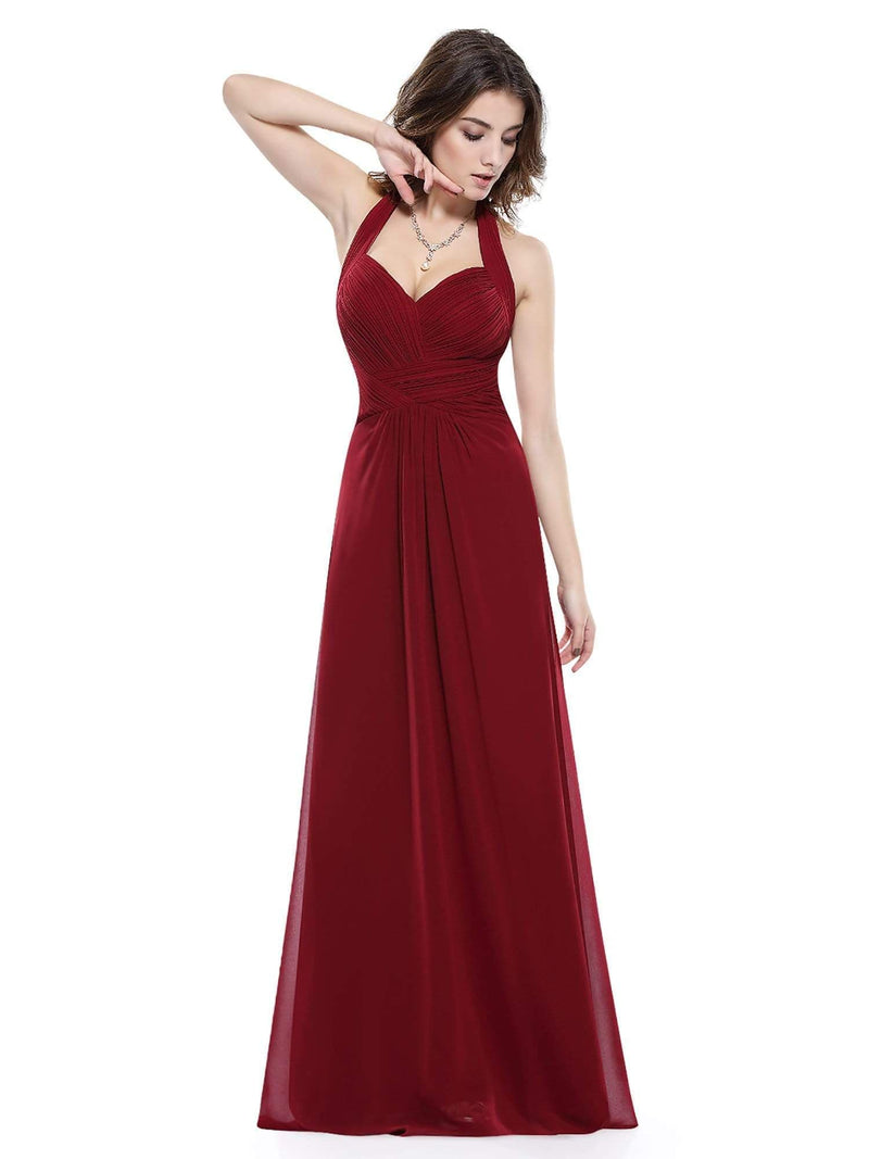 Halter Neck Evening Dress With Sweetheart Neckline-Burgundy 5