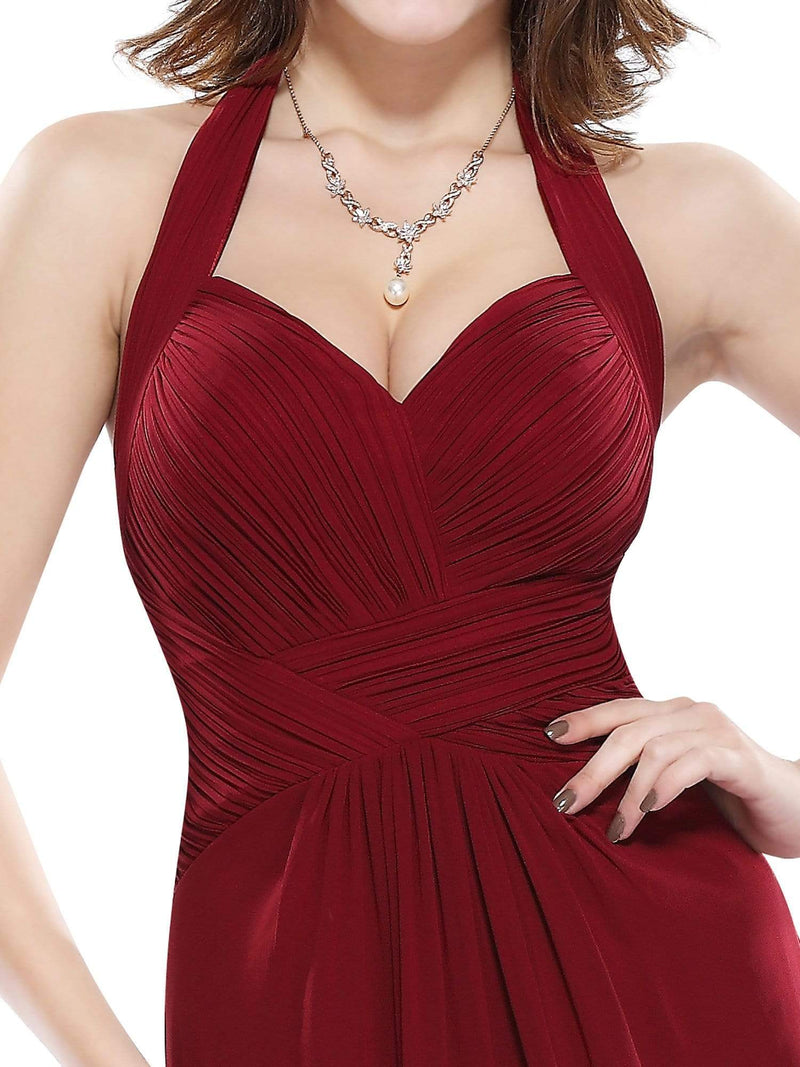 Halter Neck Evening Dress With Sweetheart Neckline-Burgundy 6