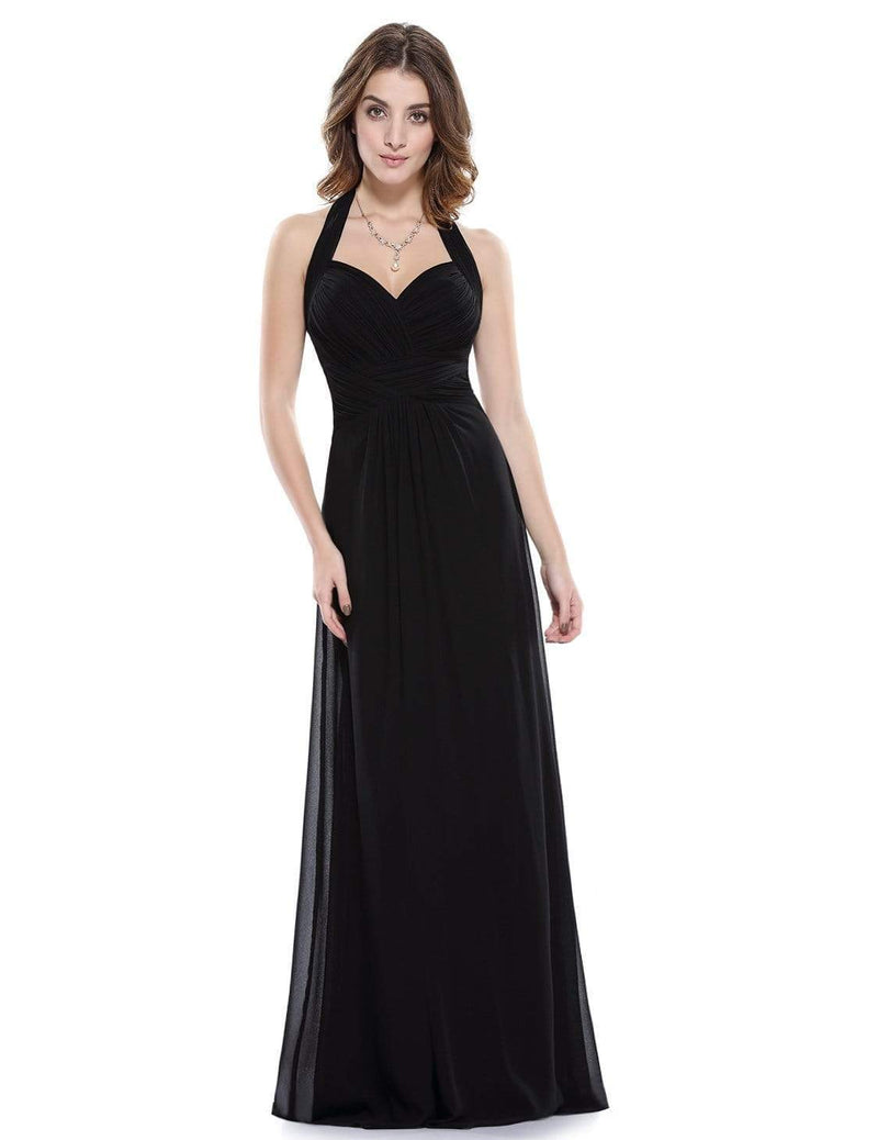 Halter Neck Evening Dress With Sweetheart Neckline-Black 2
