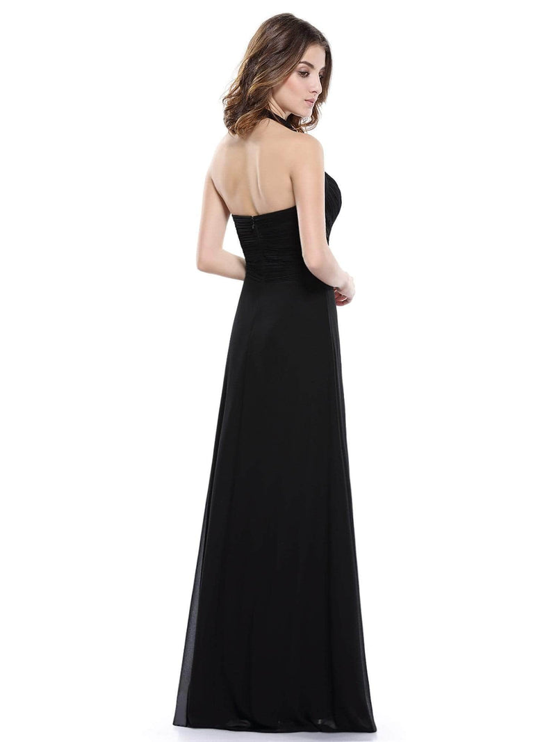Halter Neck Evening Dress With Sweetheart Neckline-Black 3