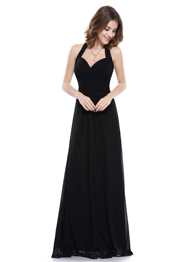 Halter Neck Evening Dress With Sweetheart Neckline-Black 4