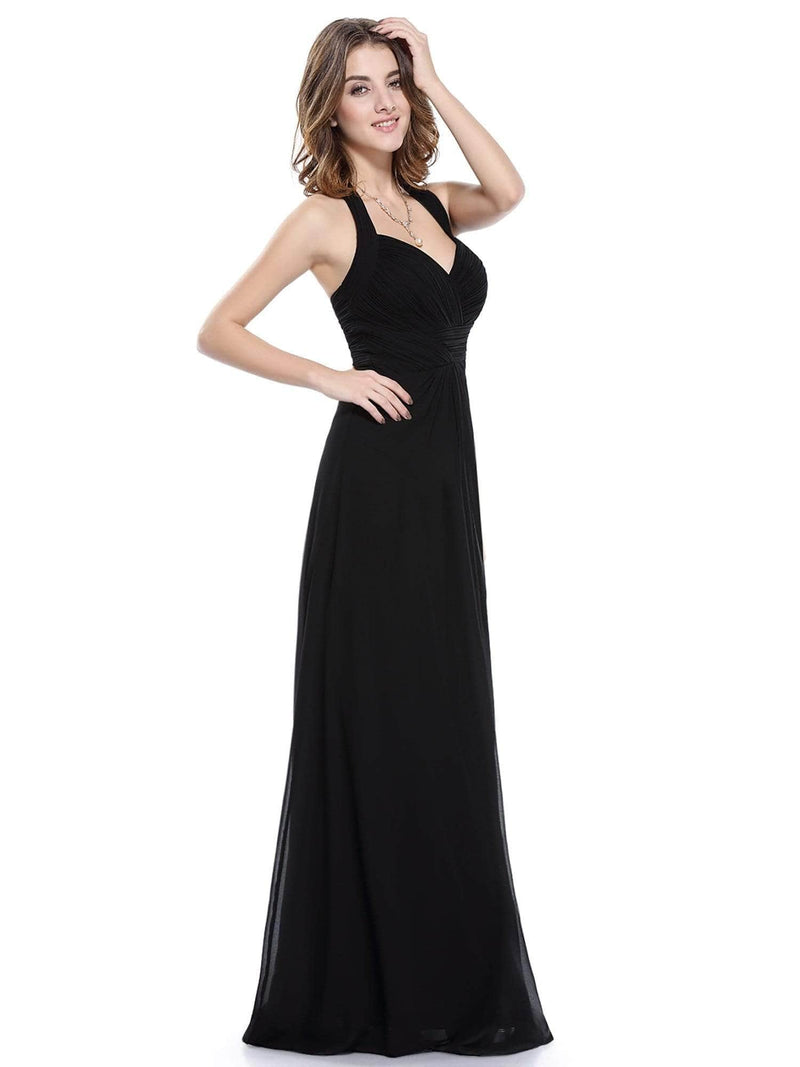 Halter Neck Evening Dress With Sweetheart Neckline-Black 5