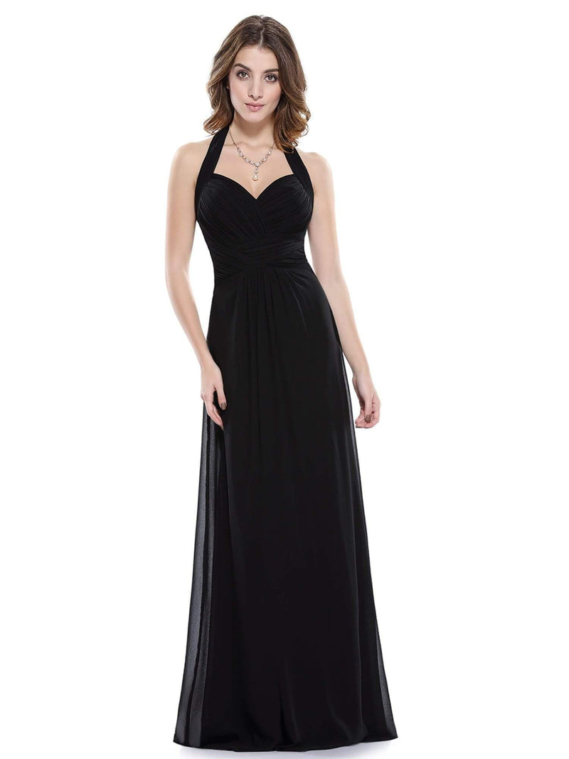 Halter Neck Evening Dress With Sweetheart Neckline-Black 1