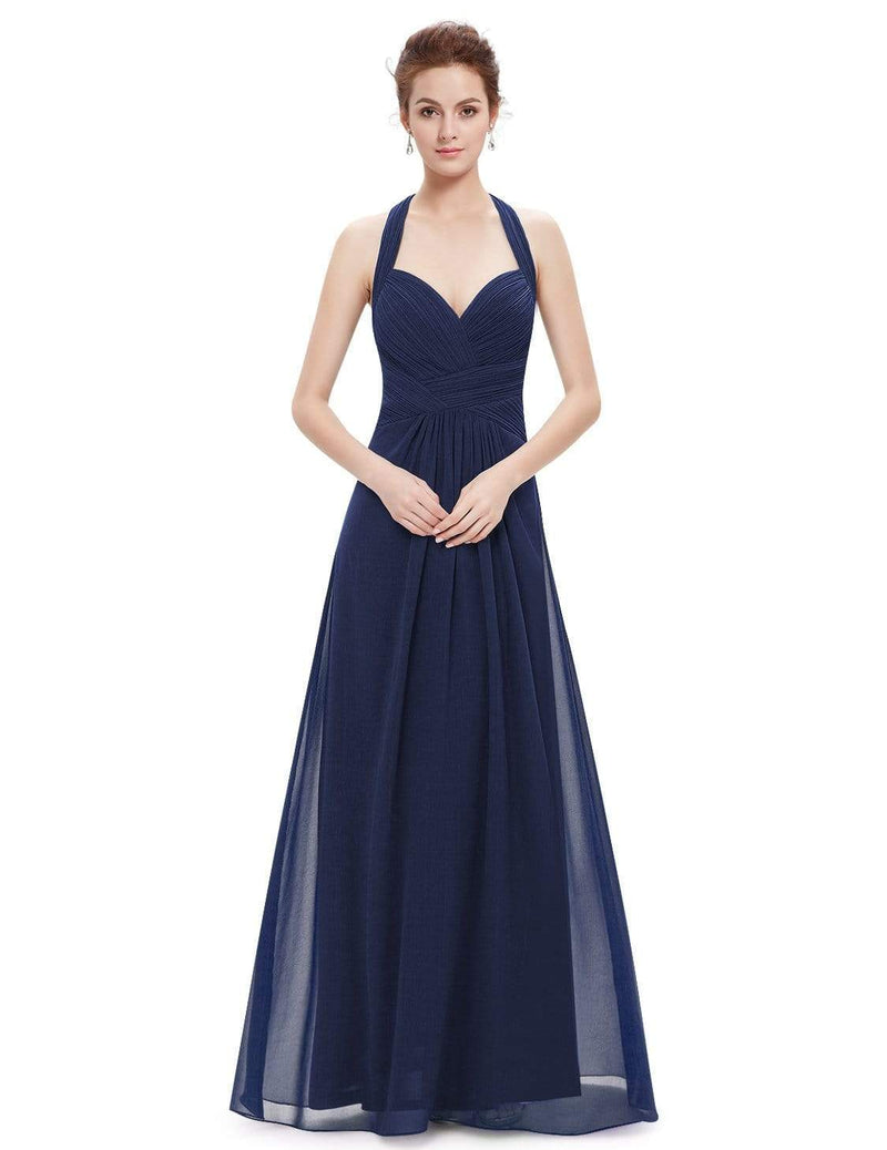 Halter Neck Evening Dress With Sweetheart Neckline-Navy Blue 2