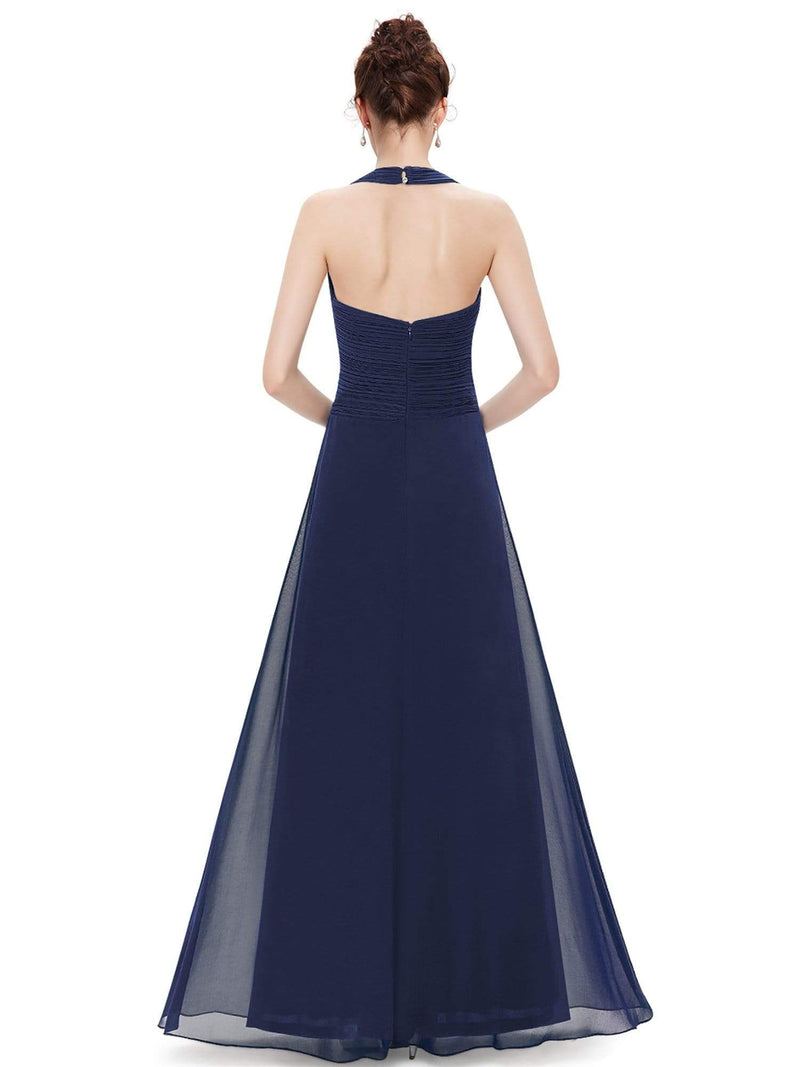 Halter Neck Evening Dress With Sweetheart Neckline-Navy Blue 3