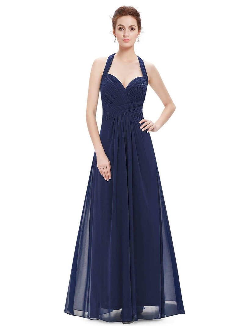 Halter Neck Evening Dress With Sweetheart Neckline-Navy Blue 4