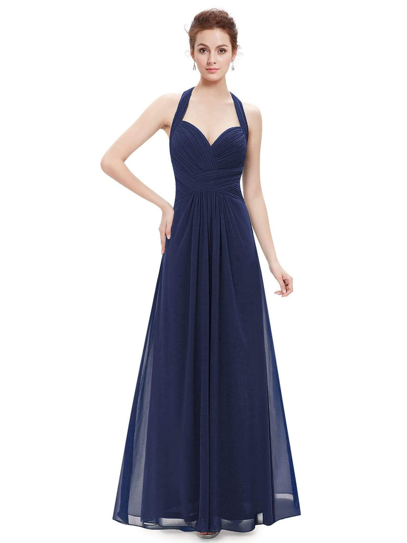 Halter Neck Evening Dress With Sweetheart Neckline-Navy Blue 5