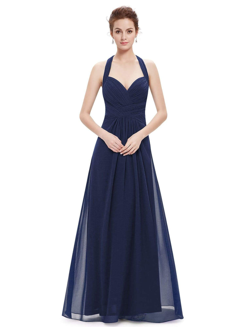 Halter Neck Evening Dress With Sweetheart Neckline-Navy Blue 1