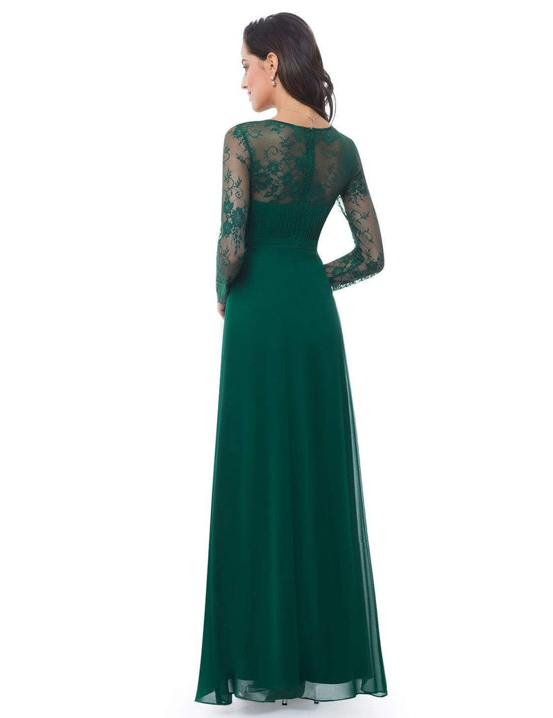 V Neck Long Evening Gown With Lace Sleeves-Dark Green 2