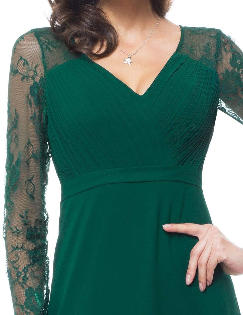 V Neck Long Evening Gown With Lace Sleeves-Dark Green 3