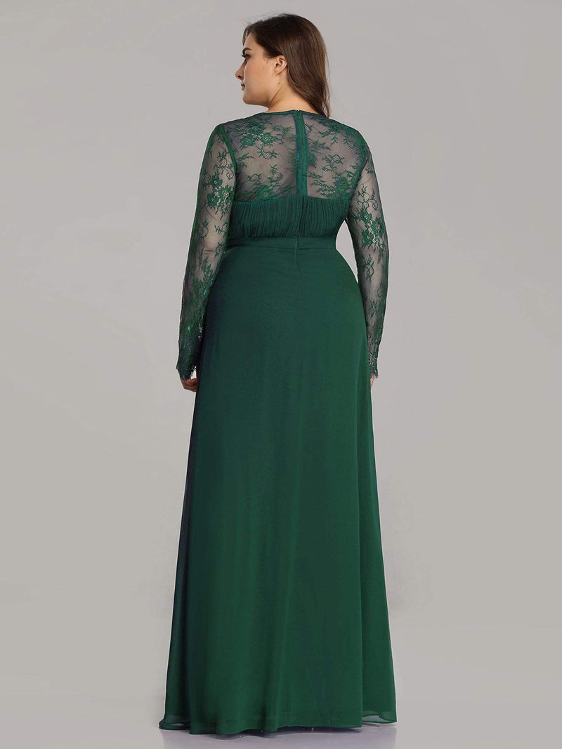 V Neck Long Evening Gown With Lace Sleeves-Dark Green 5