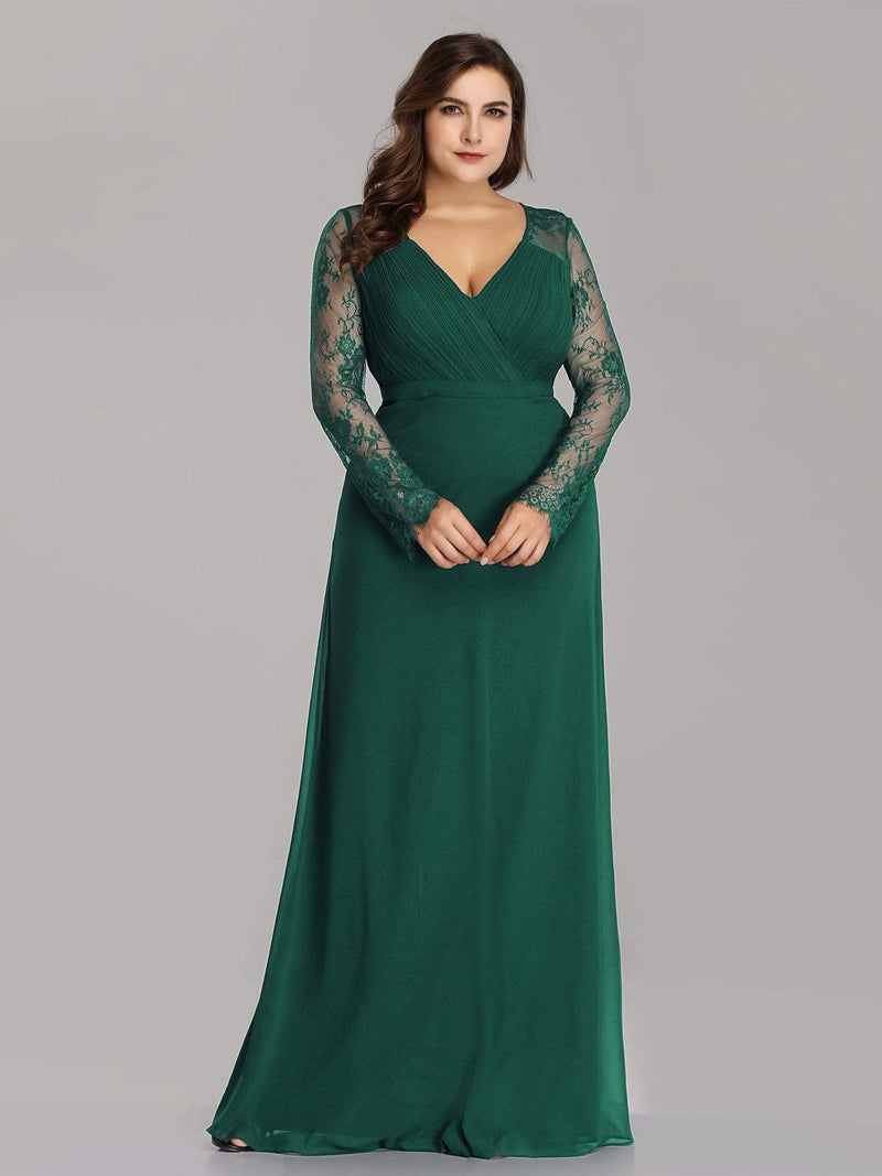 V Neck Long Evening Gown With Lace Sleeves-Dark Green 4