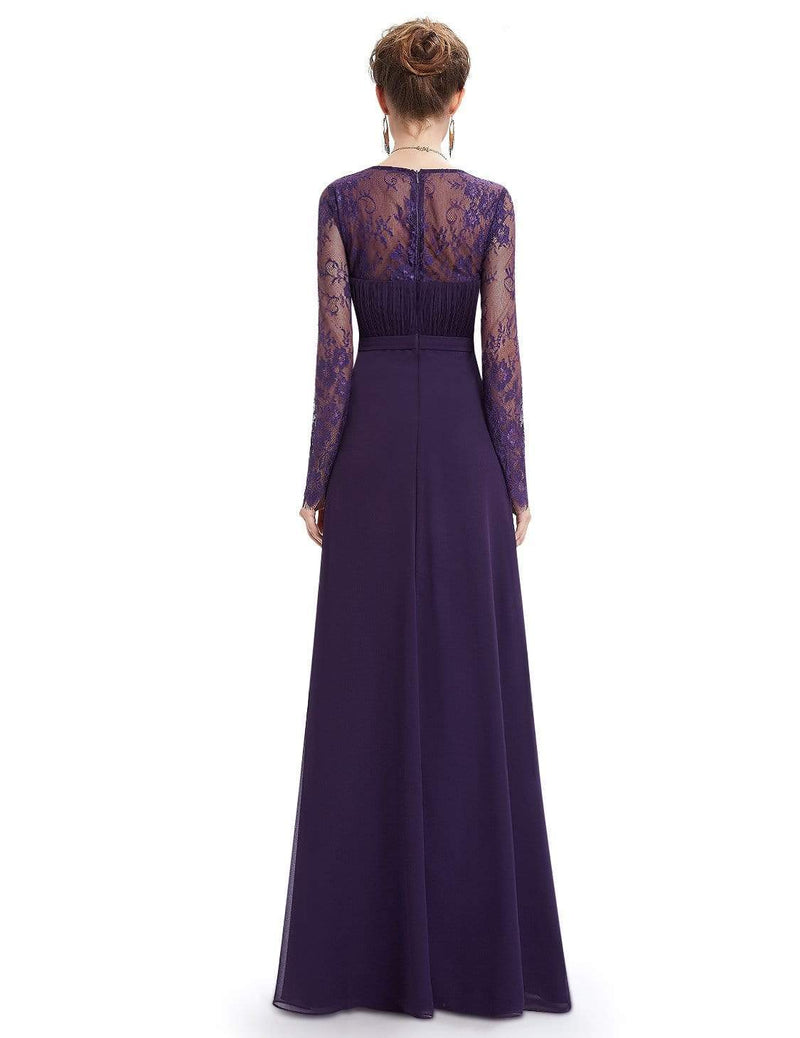 V Neck Long Evening Gown With Lace Sleeves-Dark Purple 2