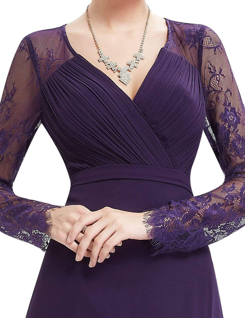 V Neck Long Evening Gown With Lace Sleeves-Dark Purple 4