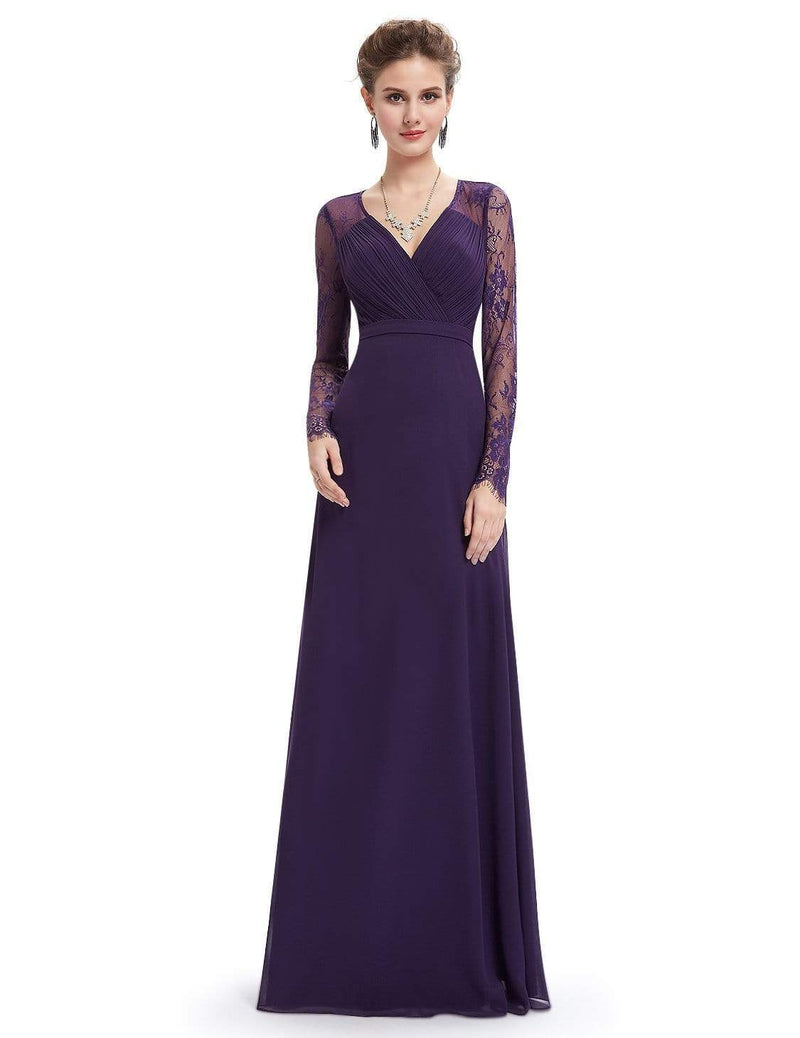 V Neck Long Evening Gown With Lace Sleeves-Dark Purple 1
