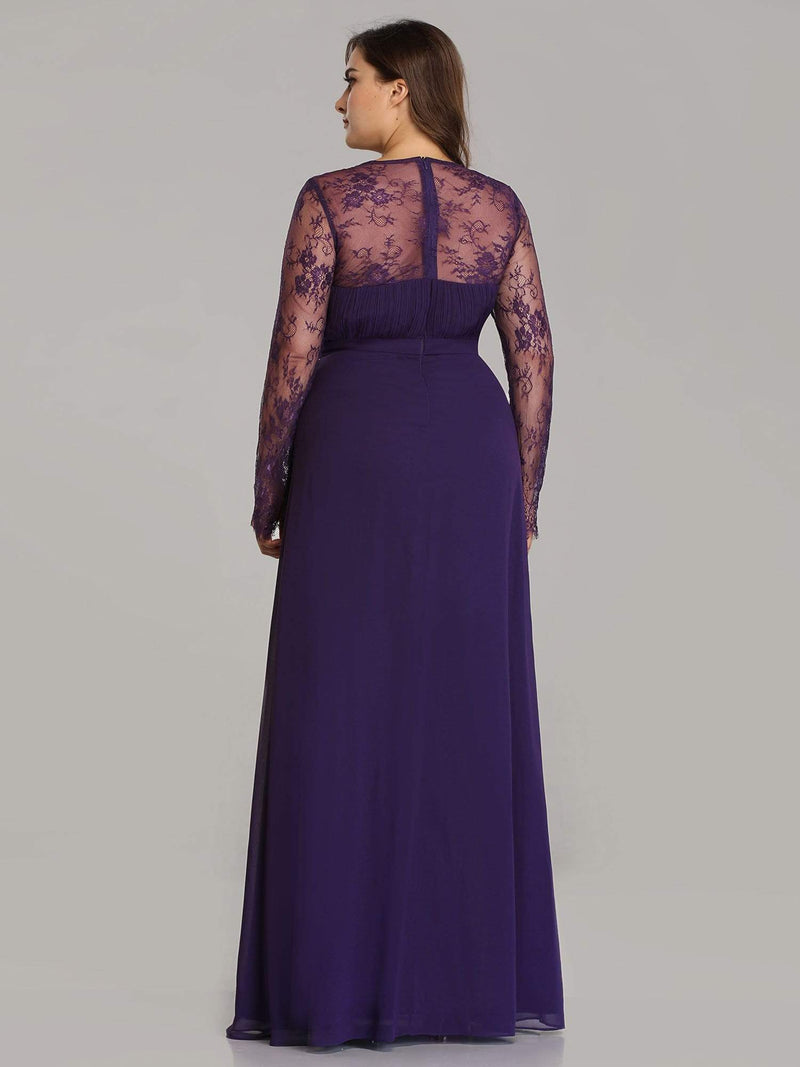 V Neck Long Evening Gown With Lace Sleeves-Dark Purple 6