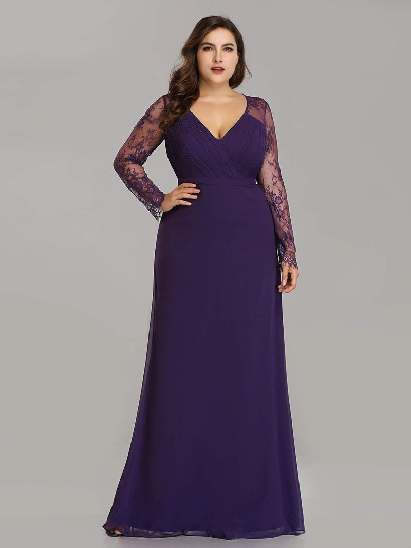 V Neck Long Evening Gown With Lace Sleeves-Dark Purple 5