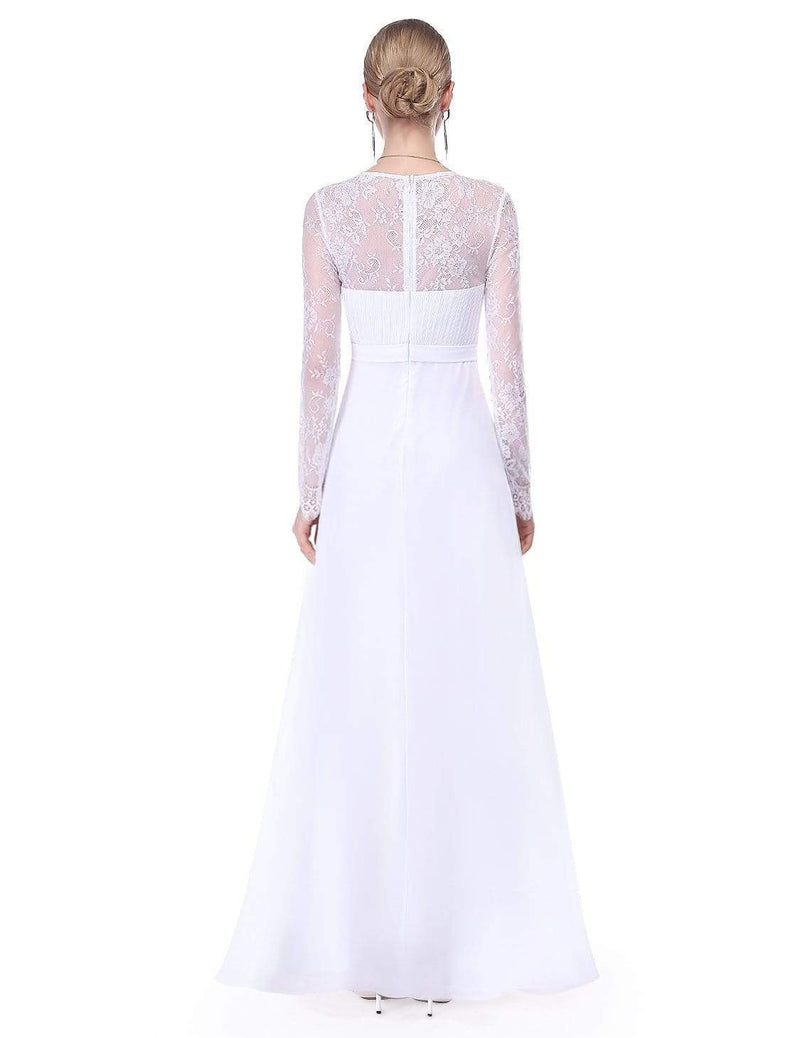 V Neck Long Evening Gown With Lace Sleeves-White 2