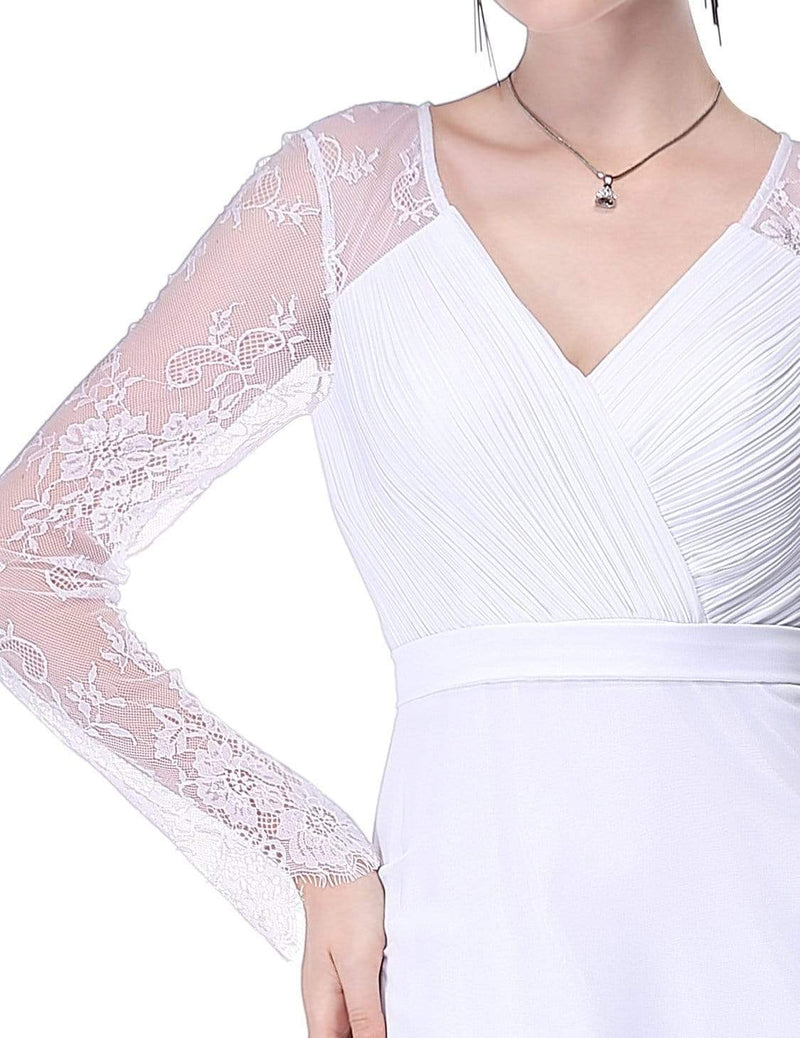 V Neck Long Evening Gown With Lace Sleeves-White 5