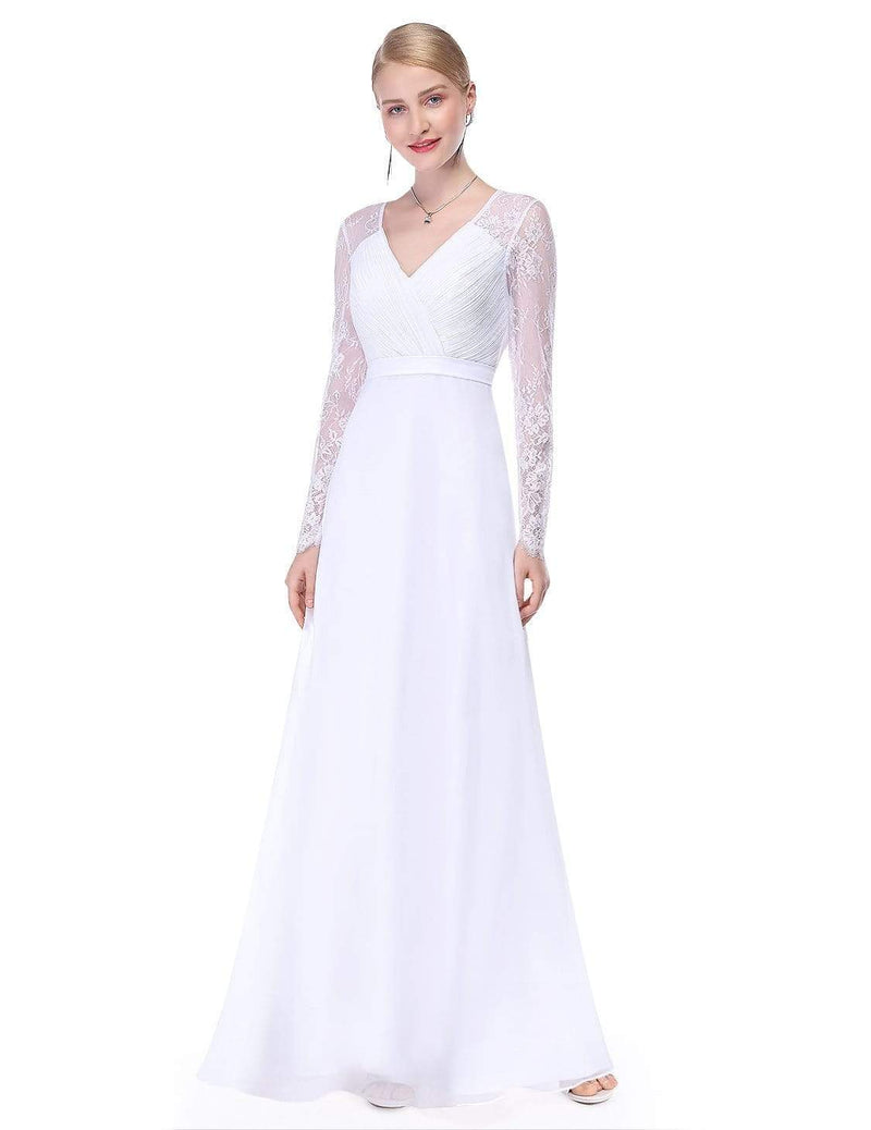V Neck Long Evening Gown With Lace Sleeves-White 1
