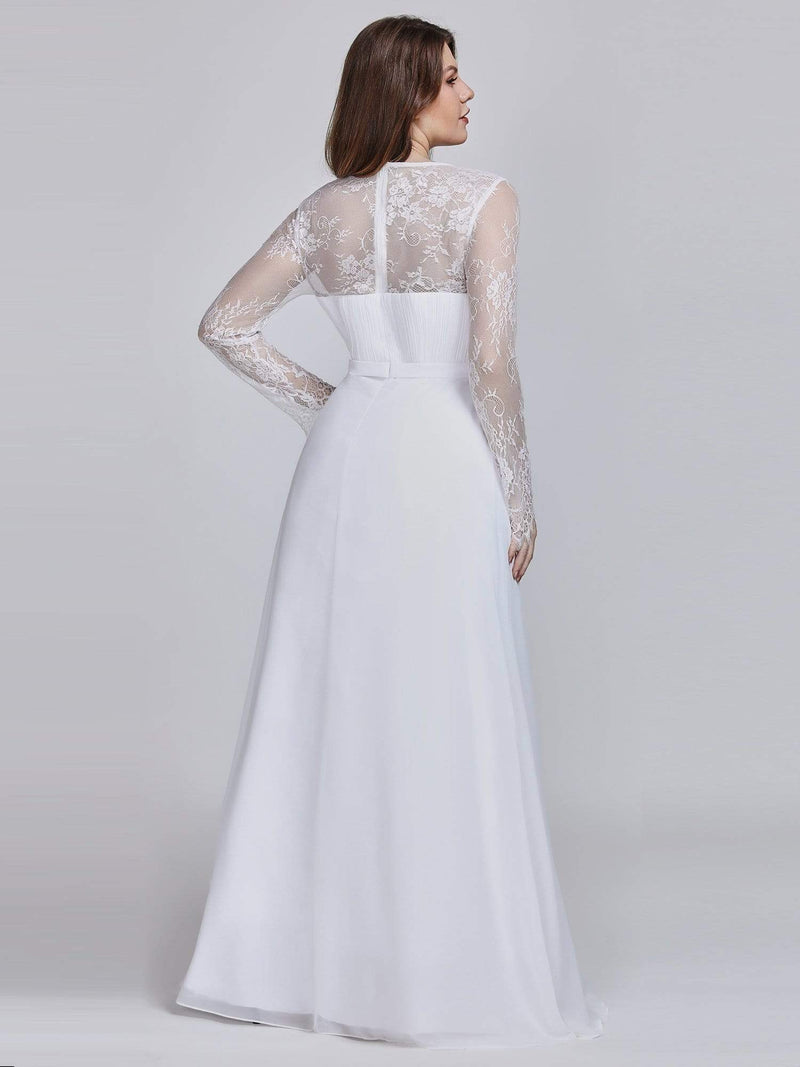 V Neck Long Evening Gown With Lace Sleeves-White 7