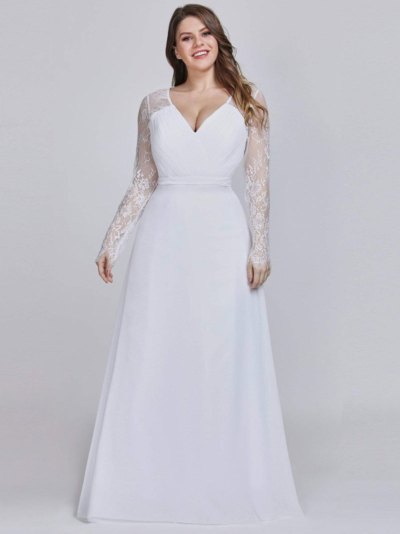V Neck Long Evening Gown With Lace Sleeves-White 6