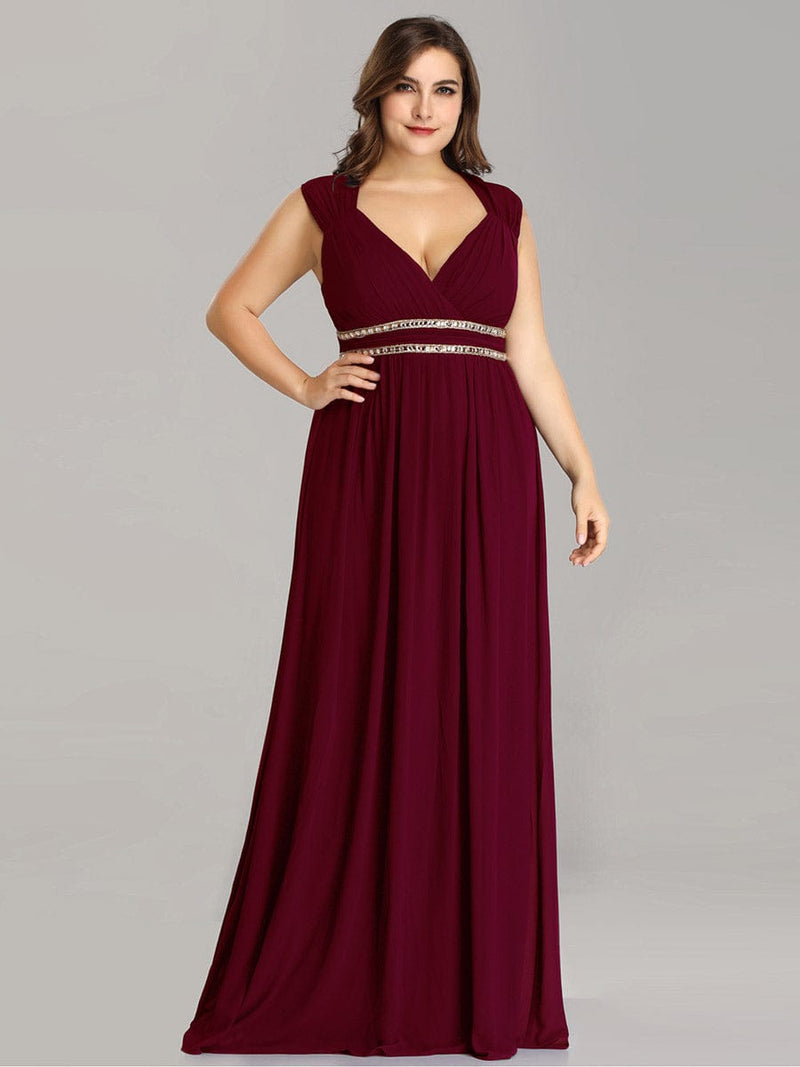 Sleeveless Grecian Style Evening Dress-Burgundy 5