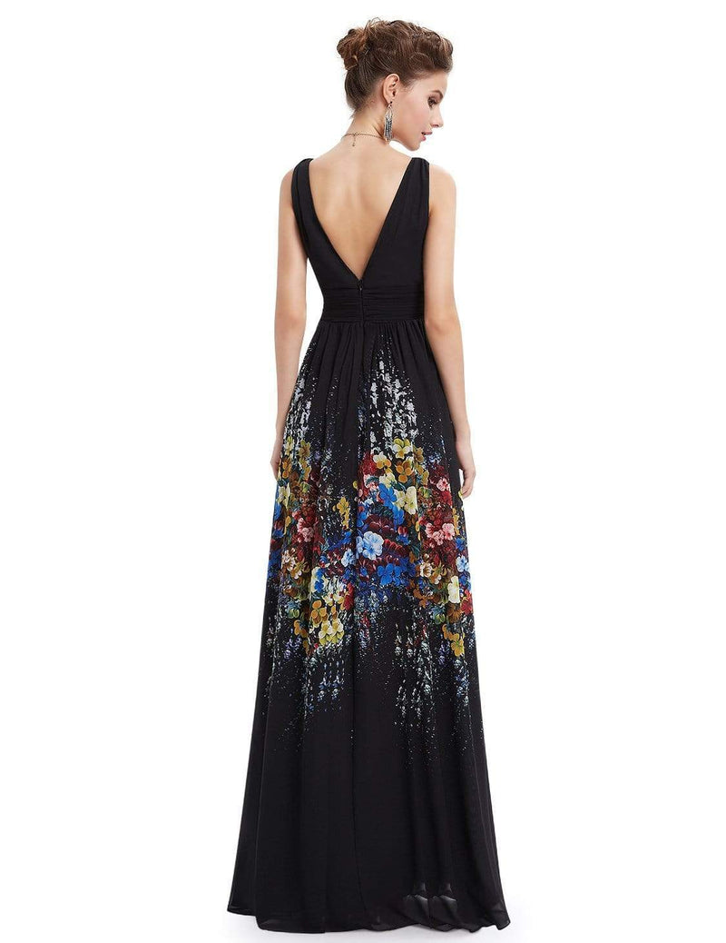 Sleeveless Long Floral Maxi Dress-Black 4