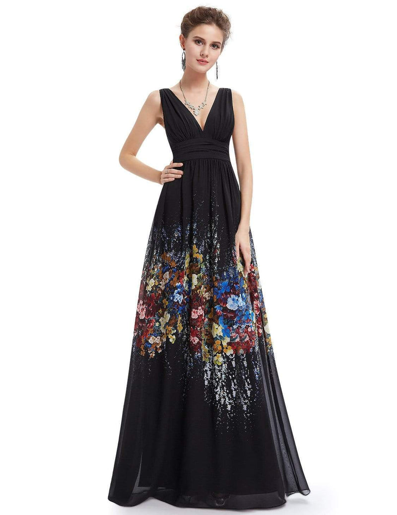 Sleeveless Long Floral Maxi Dress-Black 5