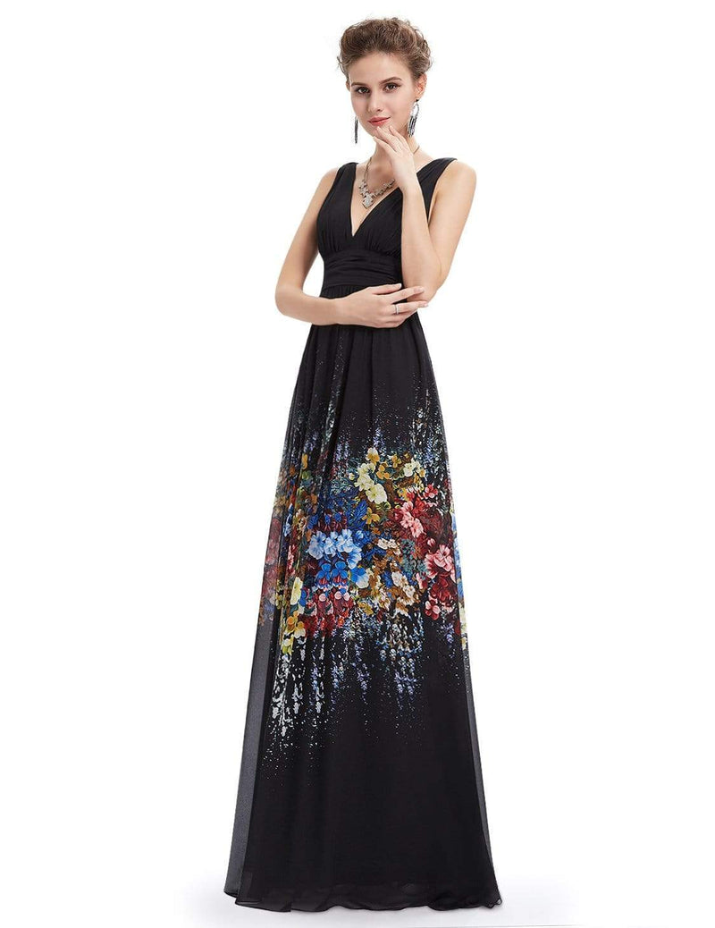 Sleeveless Long Floral Maxi Dress-Black 6
