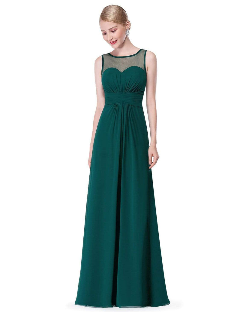 Empire Waist Long Chiffon Bridesmaid Dress-Dark Green 2