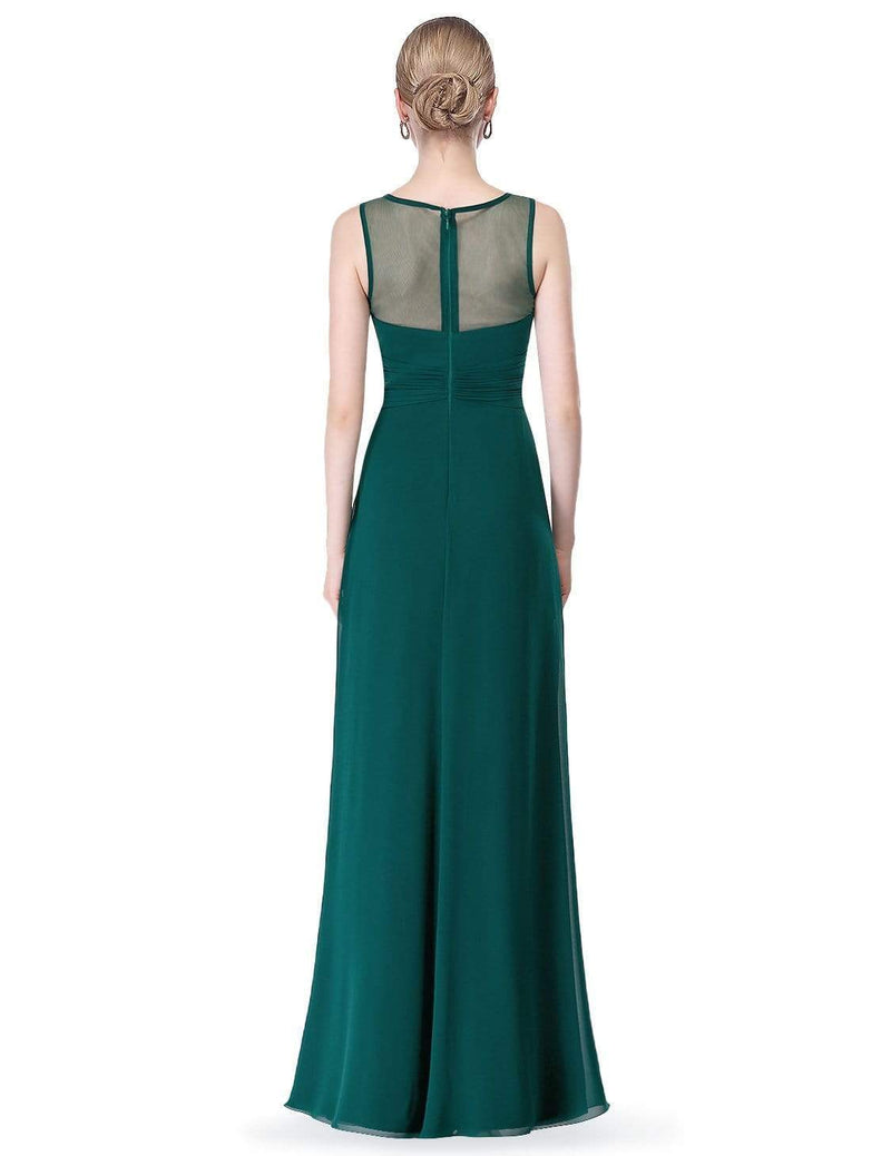 Empire Waist Long Chiffon Bridesmaid Dress-Dark Green 3