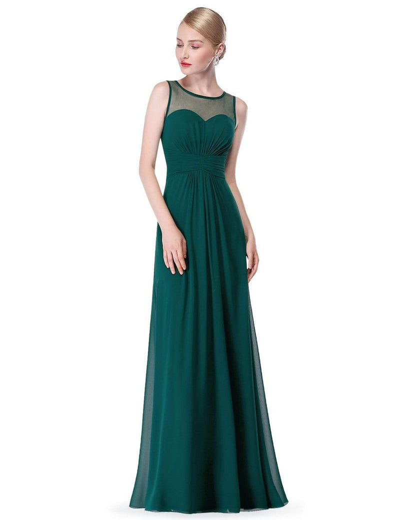 Empire Waist Long Chiffon Bridesmaid Dress-Dark Green 4