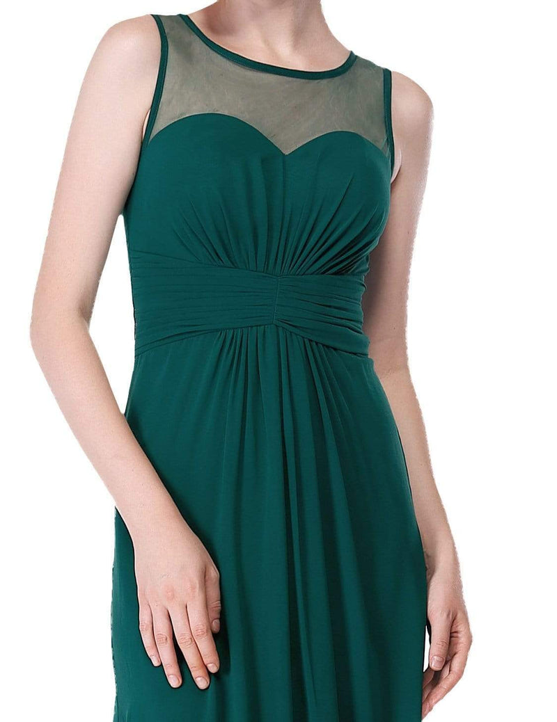 Empire Waist Long Chiffon Bridesmaid Dress-Dark Green 6