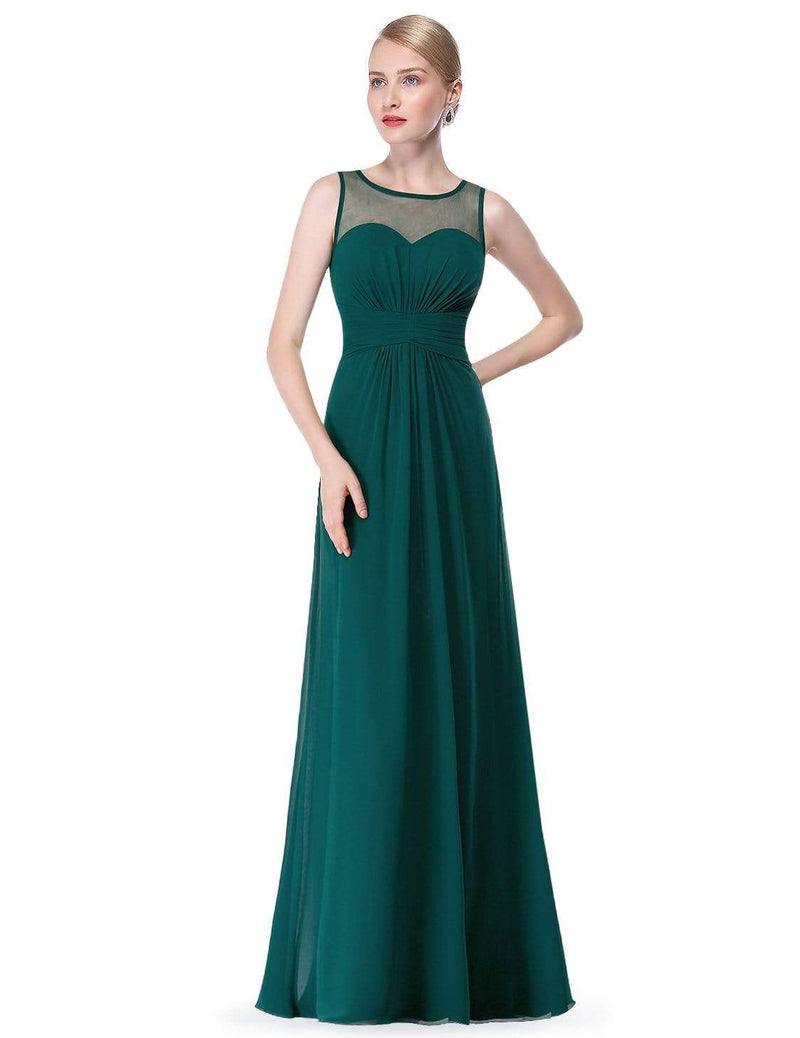 Empire Waist Long Chiffon Bridesmaid Dress-Dark Green 1